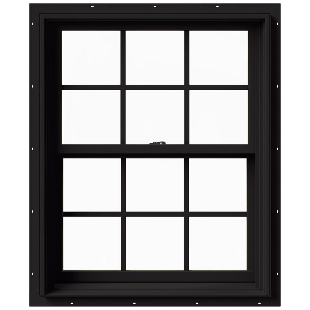 Jeld Wen 29 375 In X 36 In W 2500 Series Black Painted Clad Wood Double Hung Window W Natural Interior And Screen Thdjw177200476 Double Hung Windows Double Hung Vinyl Windows Double Hung