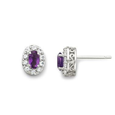 Genuine Amethyst & Lab-Created White Sapphire Earrings Sterling Silver - jcpenney