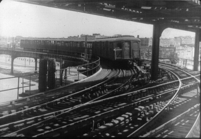 The BMT Junction of the Culver Line joining the Brighton Beach Coney Island Line on the lower level of the 4 track (2 upper & 2 lower)structure at W 8th St sometime prior to the 1954 IND takeover of the Culver Line.