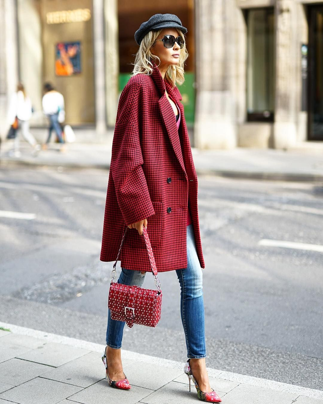 Off white flannel coat  Red Valentino Coat  How To Style By Blondwalk  Bag