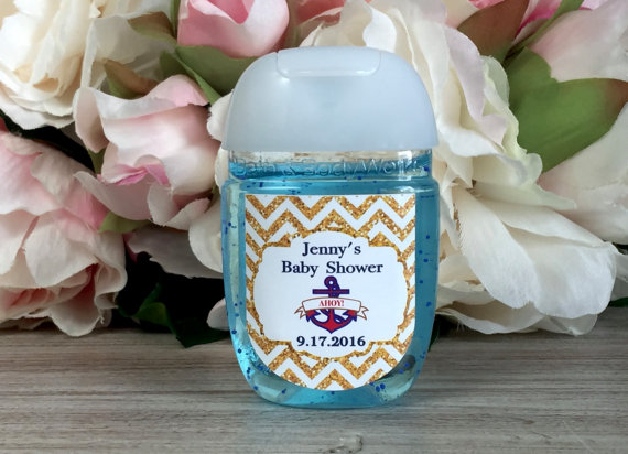 Ahoy It S A Boy Baby Shower Favor Label Hand Sanitizer Label