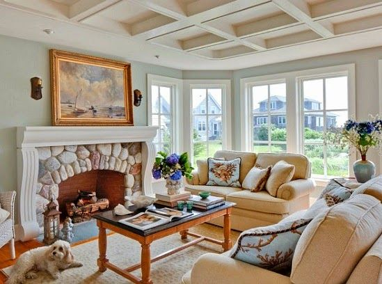 Nautical New England Style Living Room Decor Ideas With Images