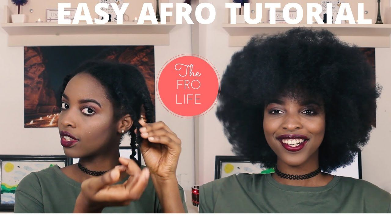 EASY BIG AFRO TUTORIAL   BEGINNER FRIENDLY   Natural hair ...