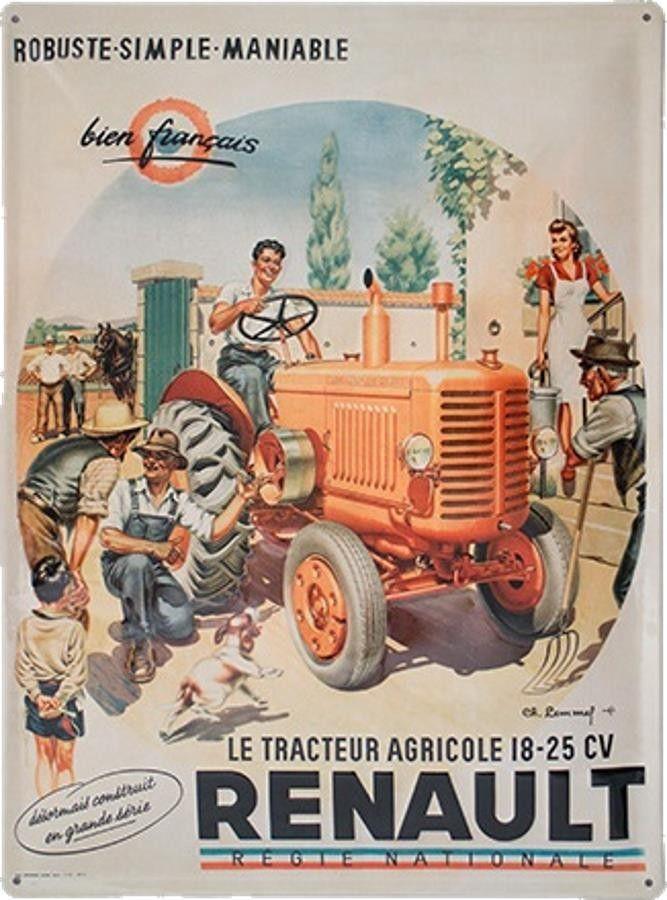 Plaque Metal Vintage Renault Tracteur Agricole Tracteur Agricole Tracteur Tracteur Ancien