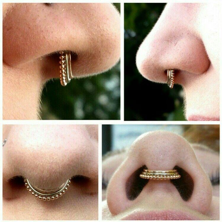 Healed Septum Piercing With Custom Zara Septum Clicker Stacked