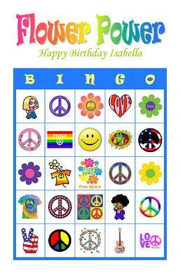 Details about Flower Power Hippie Birthday Party Game Bingo Cards ...