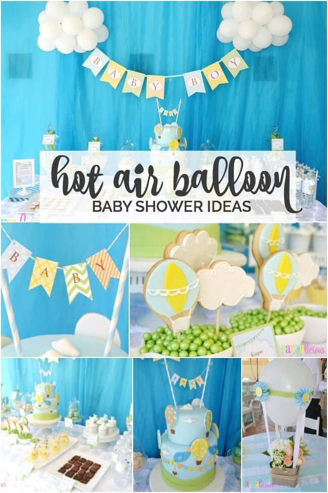 Boys Hot Air Balloon Party Theme Baby Shower Ideas Pinterest