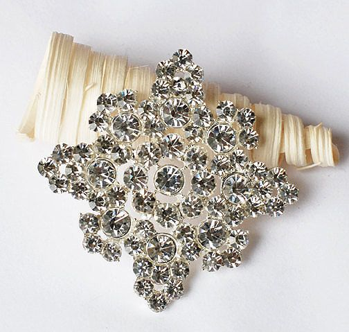 Rhinestone Brooch Component Square Crystal Flower Bridal Hair Comb Shoe Clip Pin Wedding Cake Decoration Invitation BR096 #bridalhairflowers