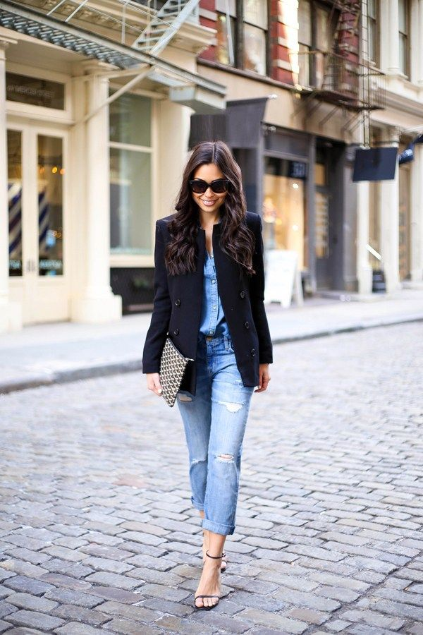 55 Cool Spring Outfit Ideas | Try dabbling in the Canadian Tuxedo—denim on top and bottom—but break up the look with a chic blazer and a pair of minimalist sandals.