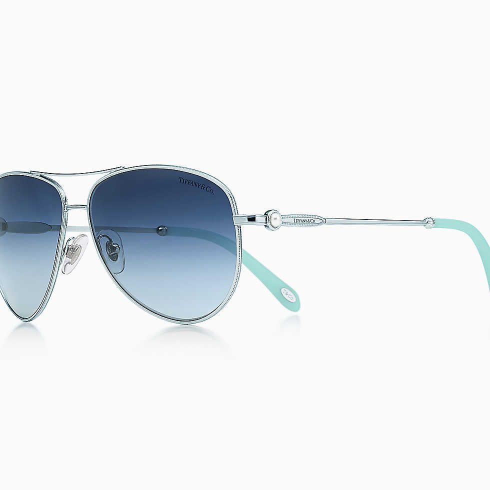 0822dc54aa22 Ziegfeld Collection aviator sunglasses in silver-colored metal and acetate. Tiffany  and Co