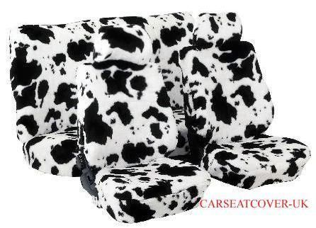 Full Set Of Furry Cow Print Car Seat Covers