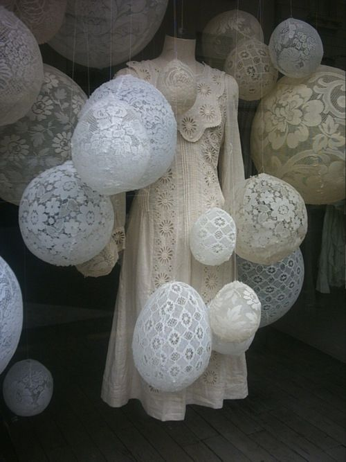 Lace window displays...love this...is probably made with starch over ball forms!