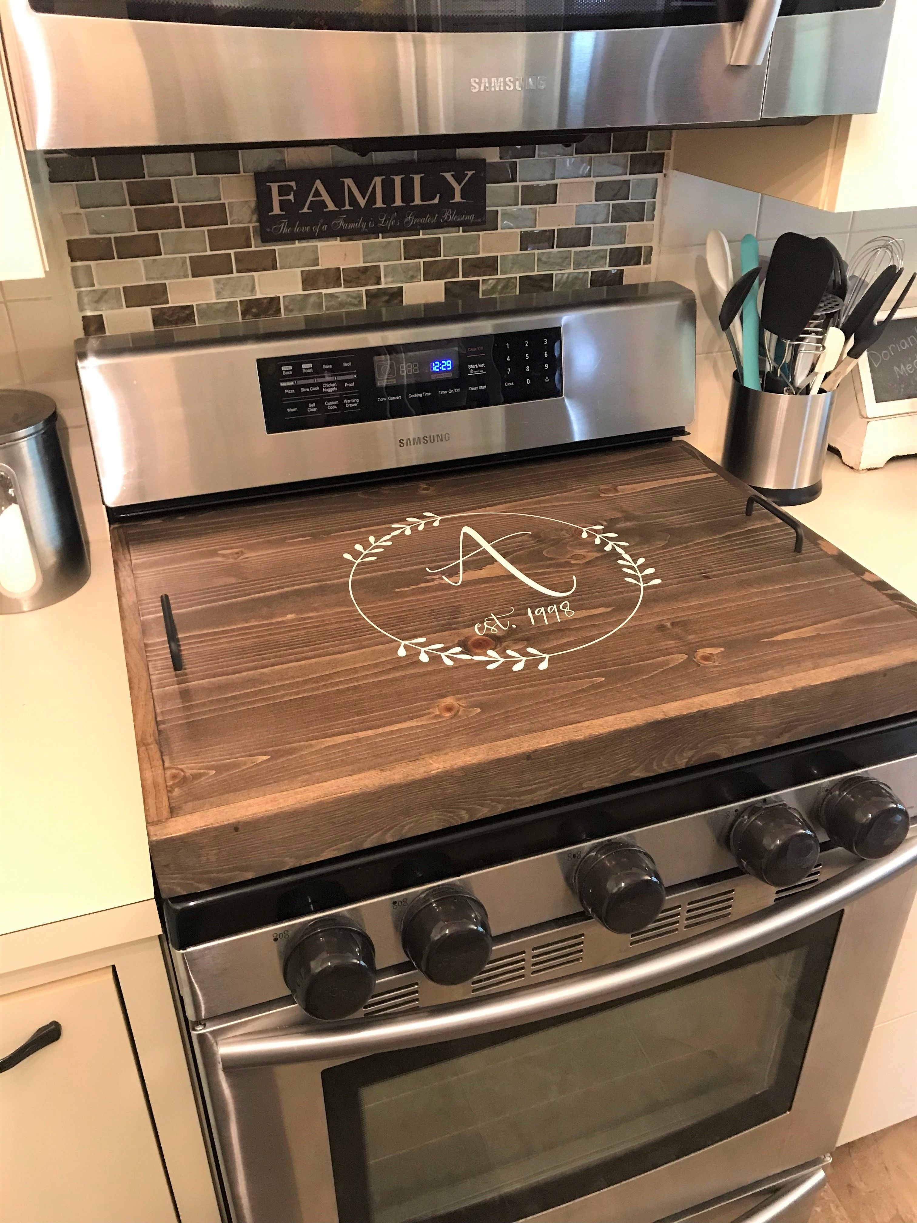 Thick Oak Stove Top Cover Diy Kitchen Renovation Kitchen Design Diy Home Decor Kitchen