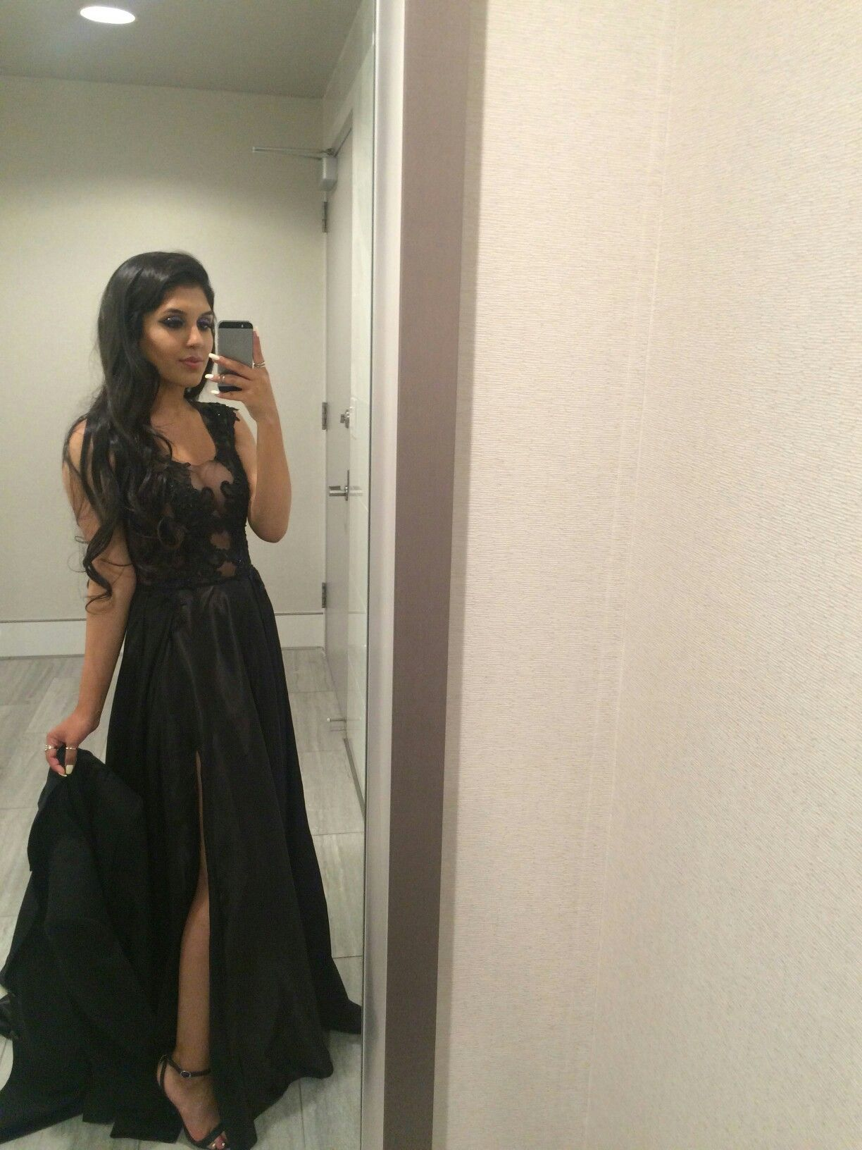 silky/black/prom/long/leg slit/gown/2016/
