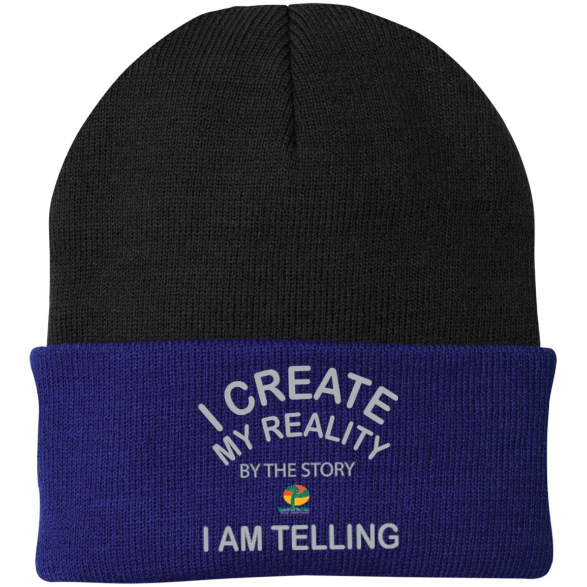 """One Size Fits Most Knit Cap-Positive Spiritual Affirmations LOA """"I Create My Reality. . ."""""""
