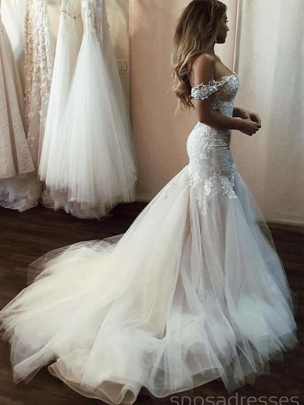 Off Shoulder Lace Mermaid Wedding Dresses Online Cheap Beach Bridal Dresses Wd473 Beach Bridal Dresses Off Shoulder Wedding Dress Wedding Dress Tulle Lace
