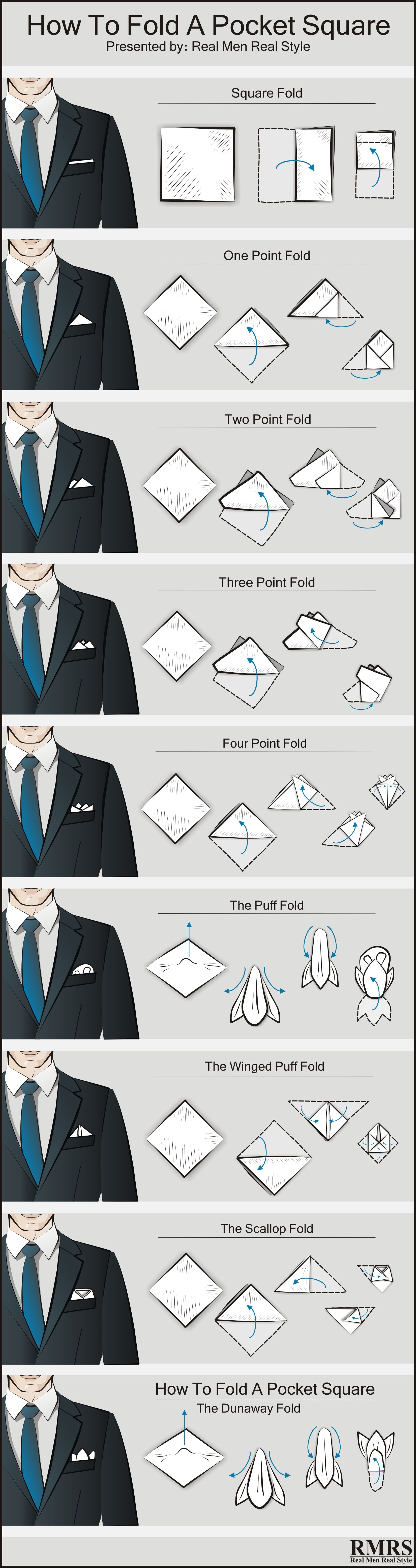 how to fold a pocket square 9 ways of folding a. Black Bedroom Furniture Sets. Home Design Ideas
