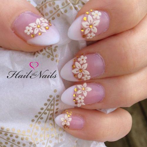 Gorgeous White Gold Wedding Bridal Nail Art