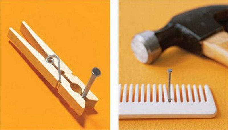 Image result for using a comb or clothespin to hold a nail while hammering