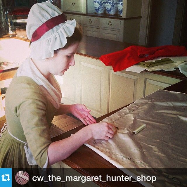 Nicole working on outlining the button holes on the waistcoat. #menswear #fashion #tailoring #embroidery #colonialwilliamsburg