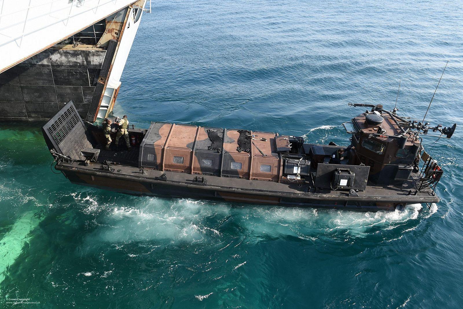 Royal Marine Landing Craft Leaving HMS Bulwark's Dock