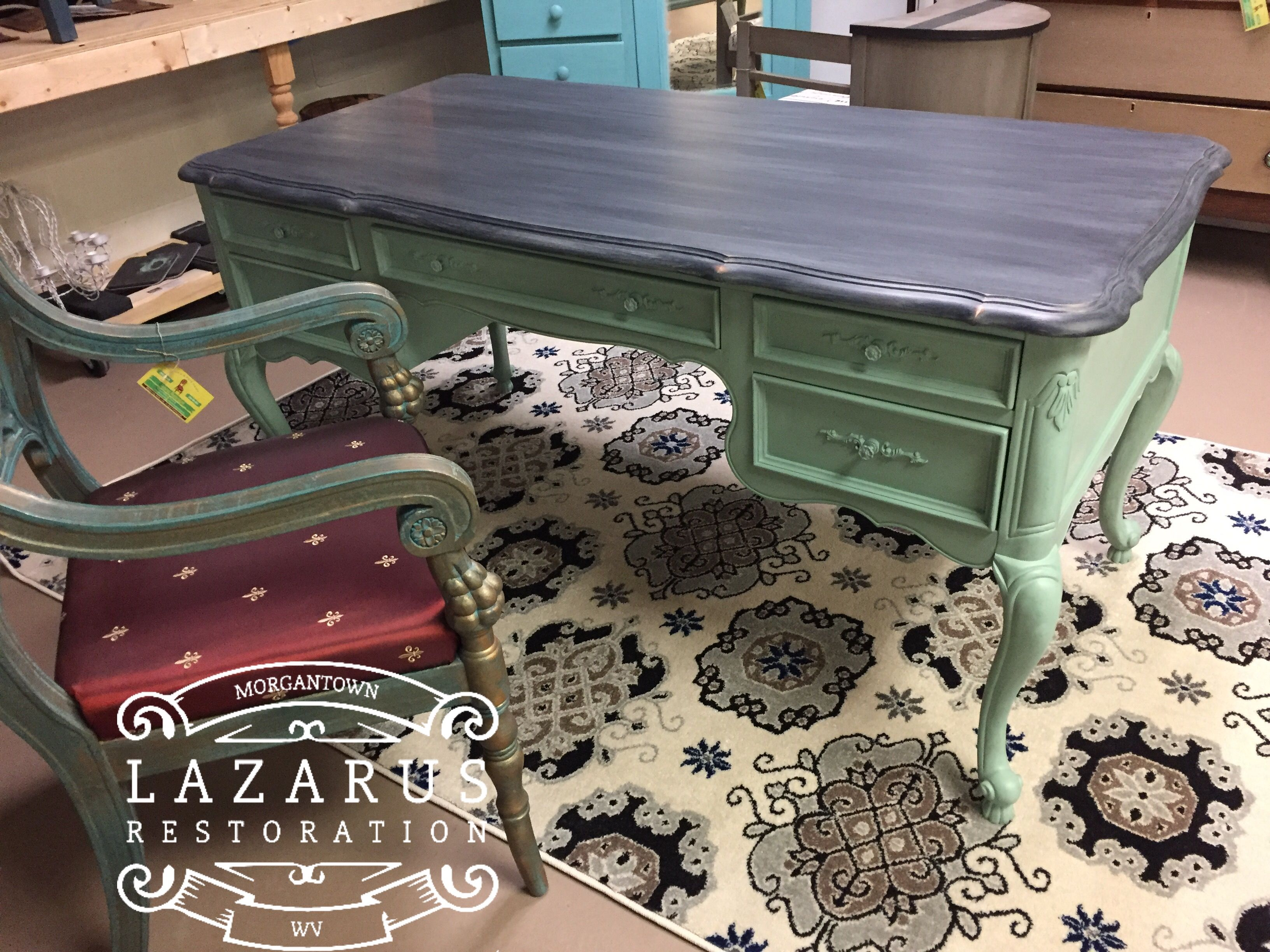 Uncategorized hand painted childrens table and chairs foter - Updated Mdf Desk Created With Heirloom Traditions Heritage Collection Amalfi Iron Gate And Weathered Wax