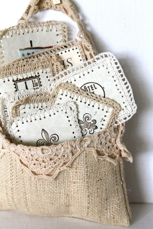 Paris Scrapbooking Supplies Crochet Paper Labels Vintage Victorian Burlap Pouch Handmade. $18.00 These are so cute and unique!