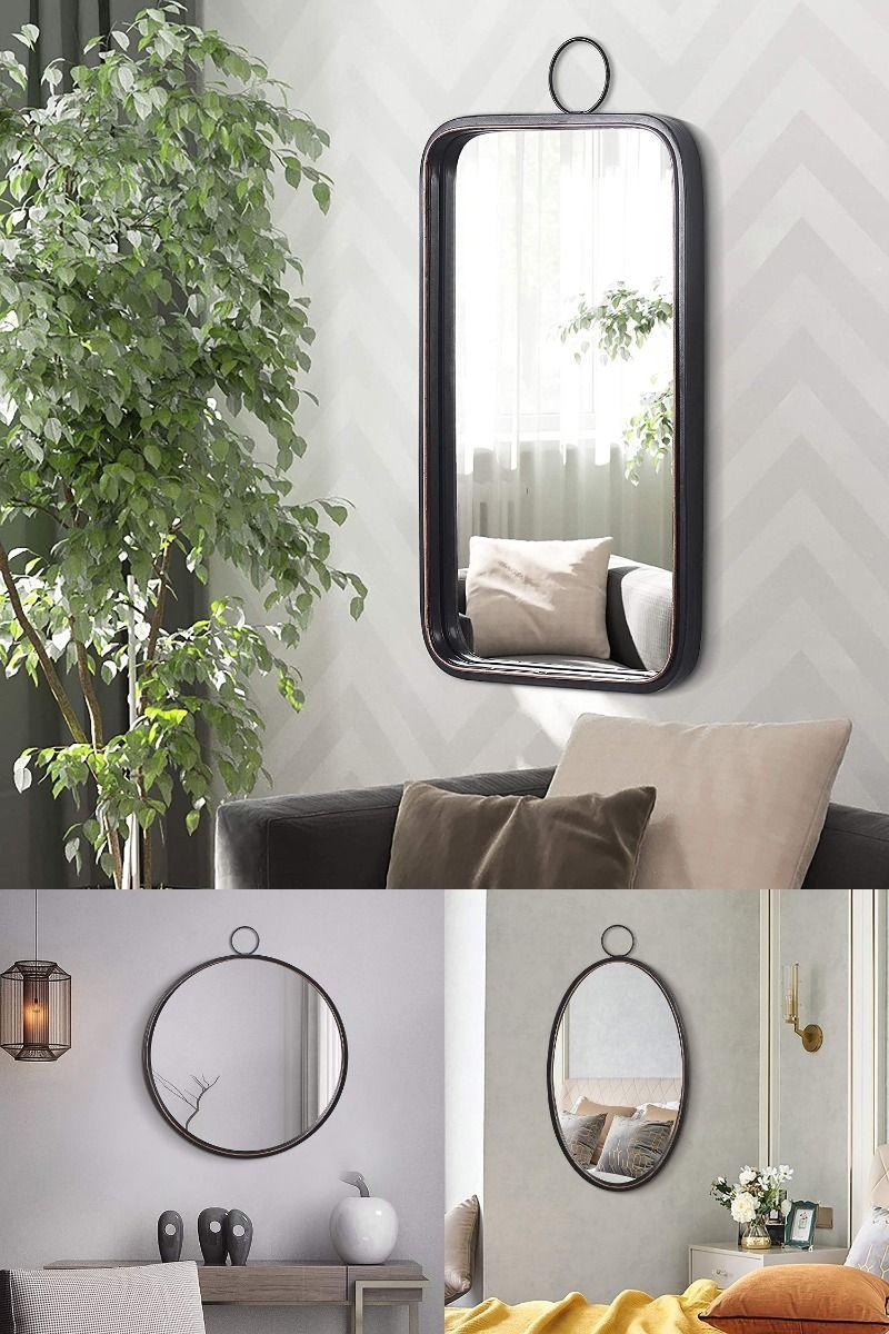Wall Decor Brushed Metal Frame Rectangular Wall Mirror For Bedroom Bathroom Living Room Entryway In 2020 Mirror Wall Bedroom Mirror Wall Mirror #rectangle #living #room #mirror