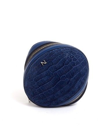 Clutch Bag Ovoide Shark - Bue Crocodile Twisted Egg - Nicolas Theil at FRENCH MODE