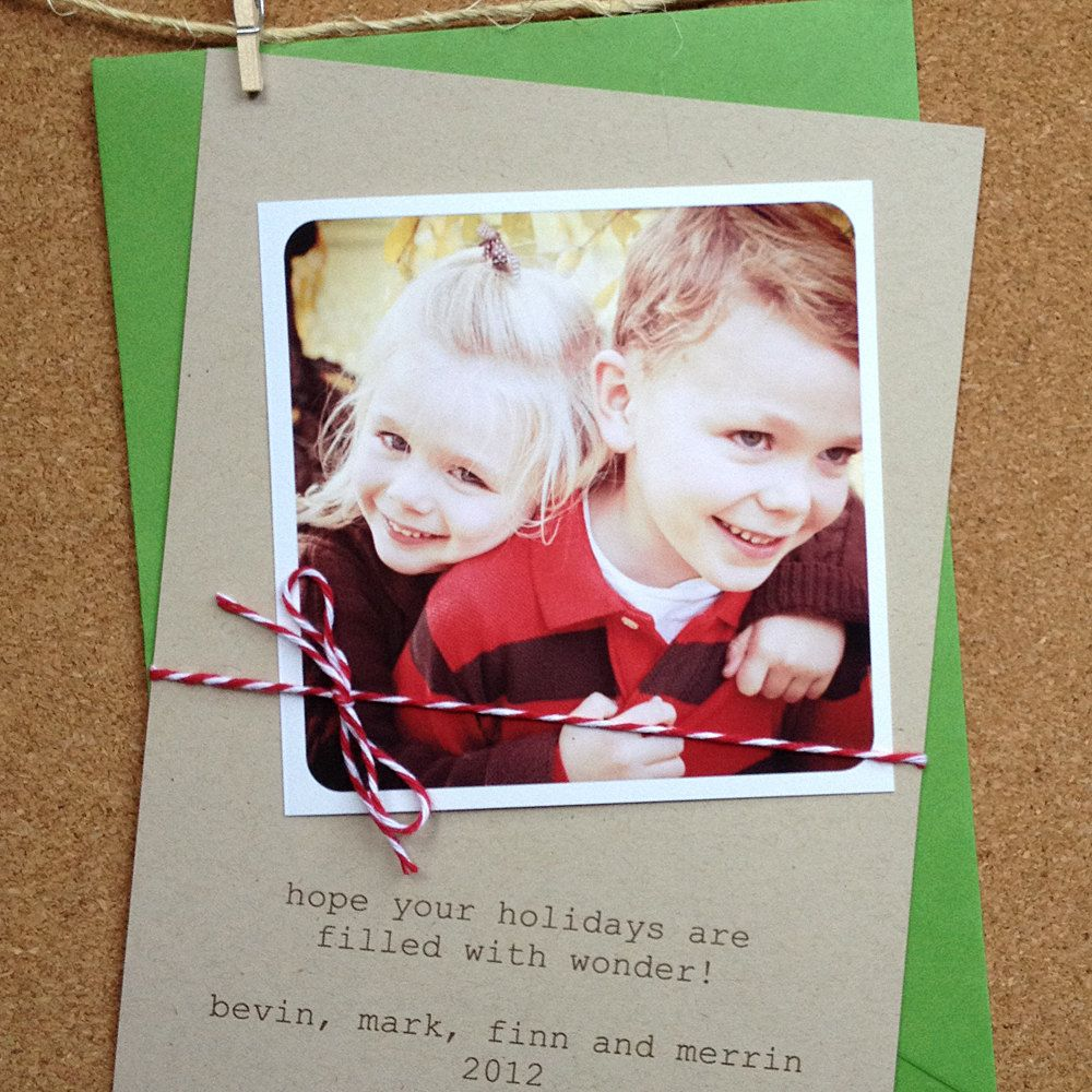 Instagram Kraft Holiday Or Christmas Photo Card With Red Bakers