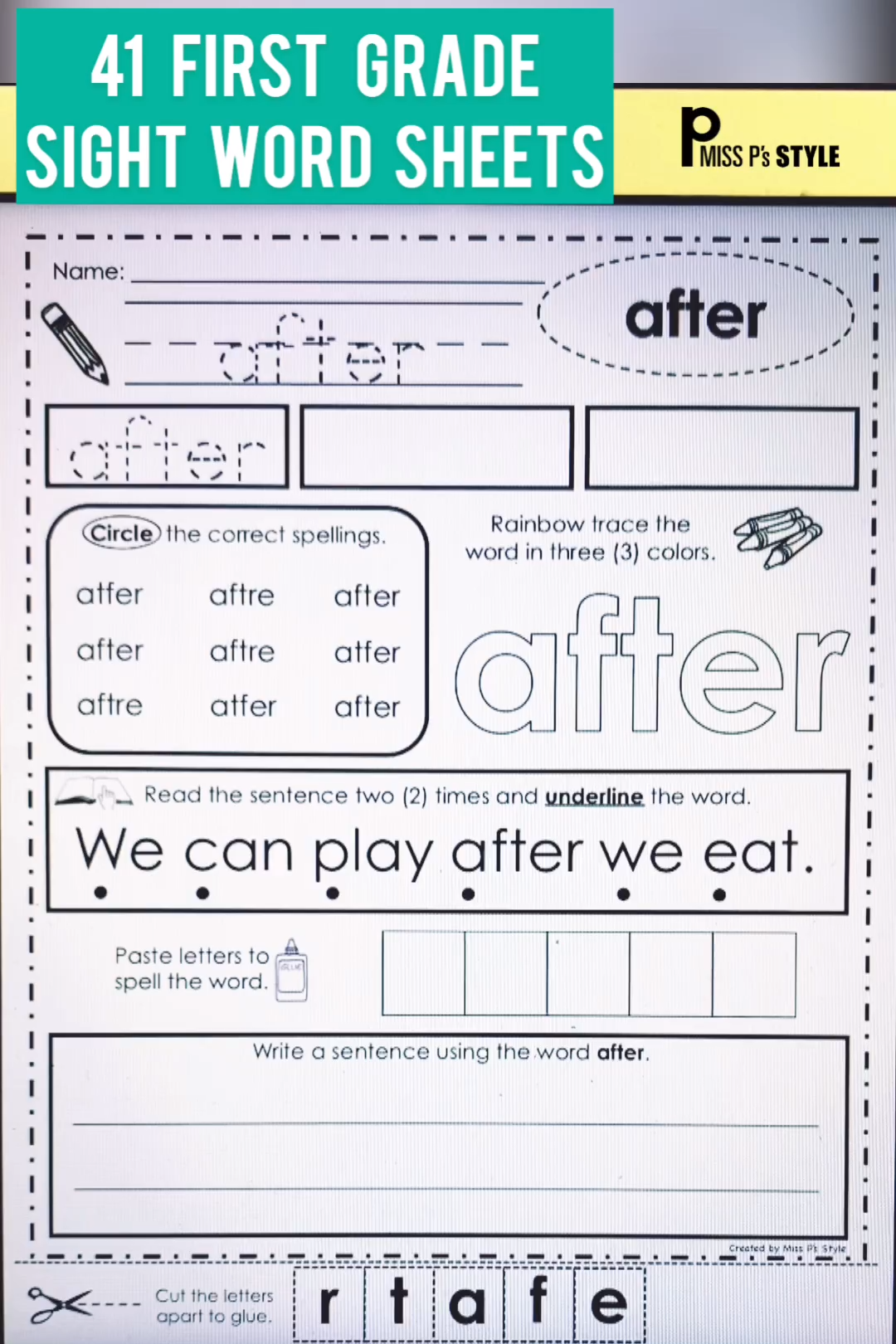 Sight Word Worksheets First Grade By Miss P Amp S Style
