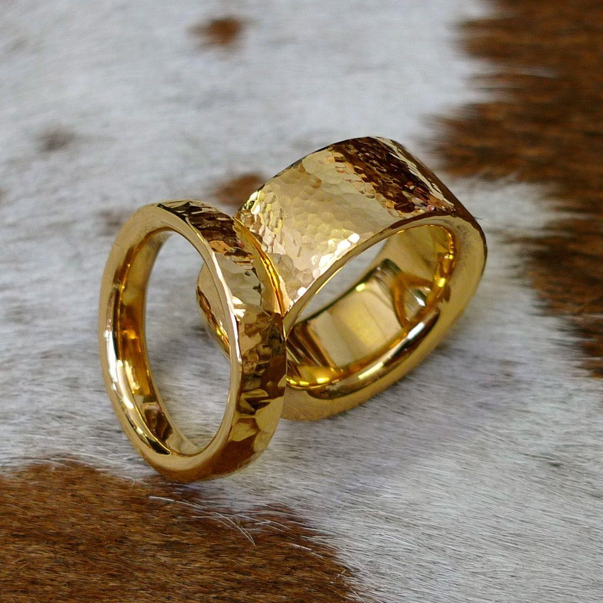 Hand made gold hammered unisex wedding rings Wedding