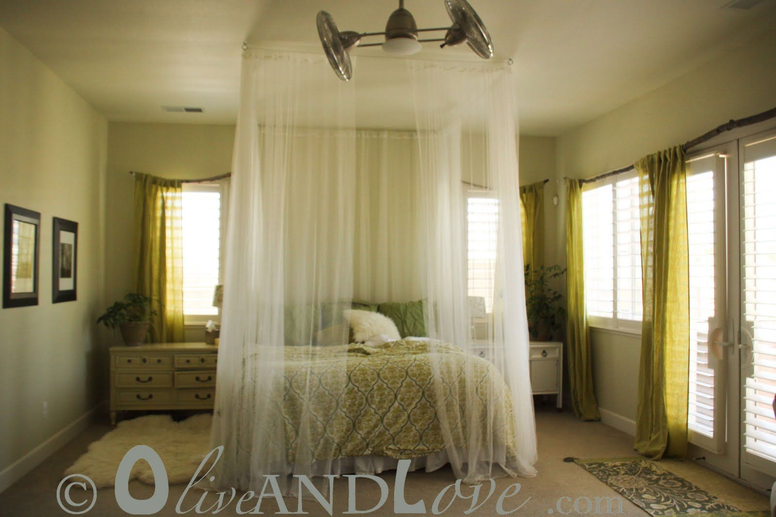 Tree Branch Curtain Rod Mosquito Netting Around Bed