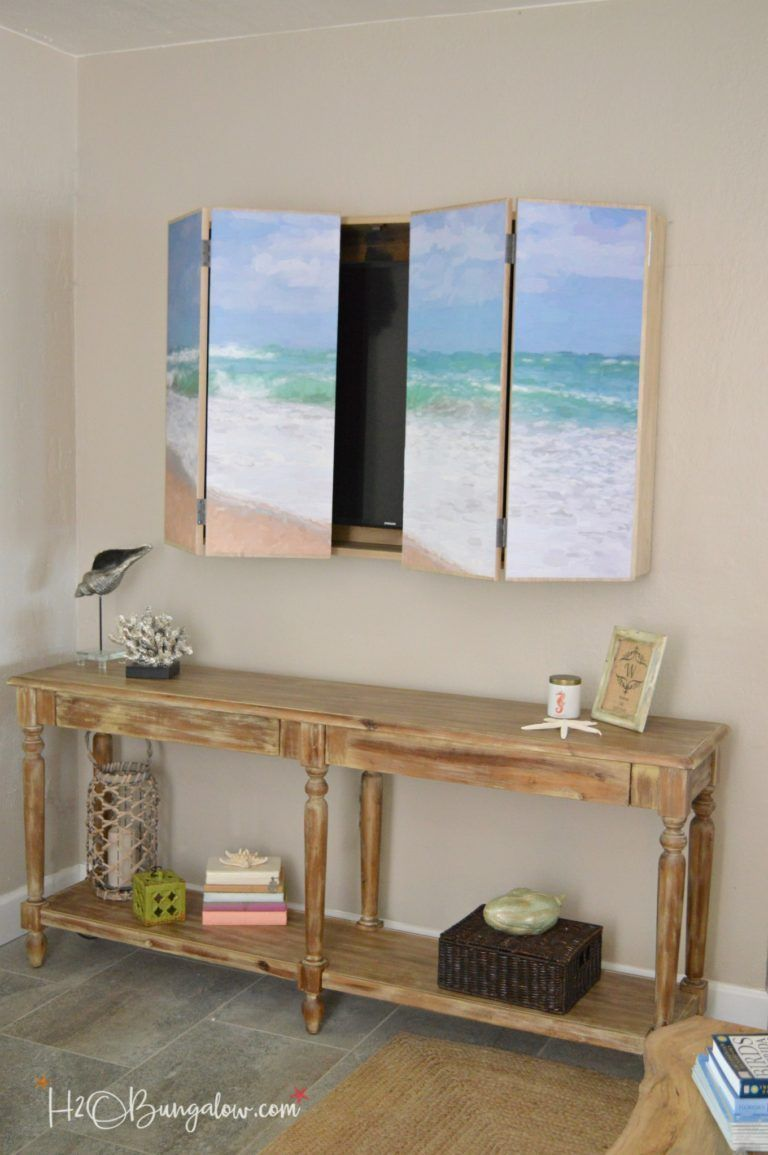 Free Plans For A Diy Wall Mounted Tv Cabinet Build To Hide The Flat Screen Behind Art In Your Home Simple Instructions Hidden