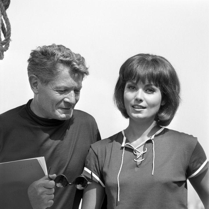 Alain Cuny e Rosanna Schiaffino sul set del film La corruzione. Anzio, luglio 1963
