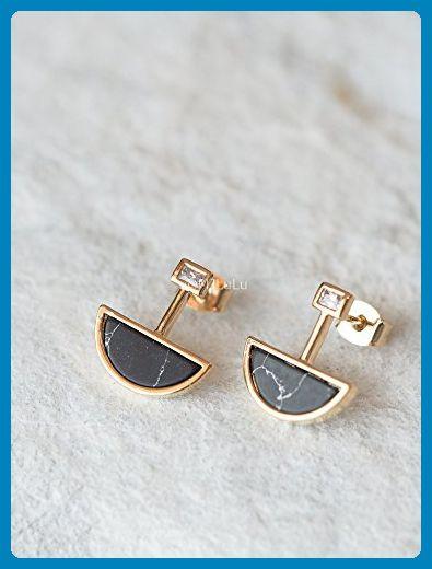 Geometric Black Howlite Half Moon Post Earrings - Wedding earings (*Amazon Partner-Link)
