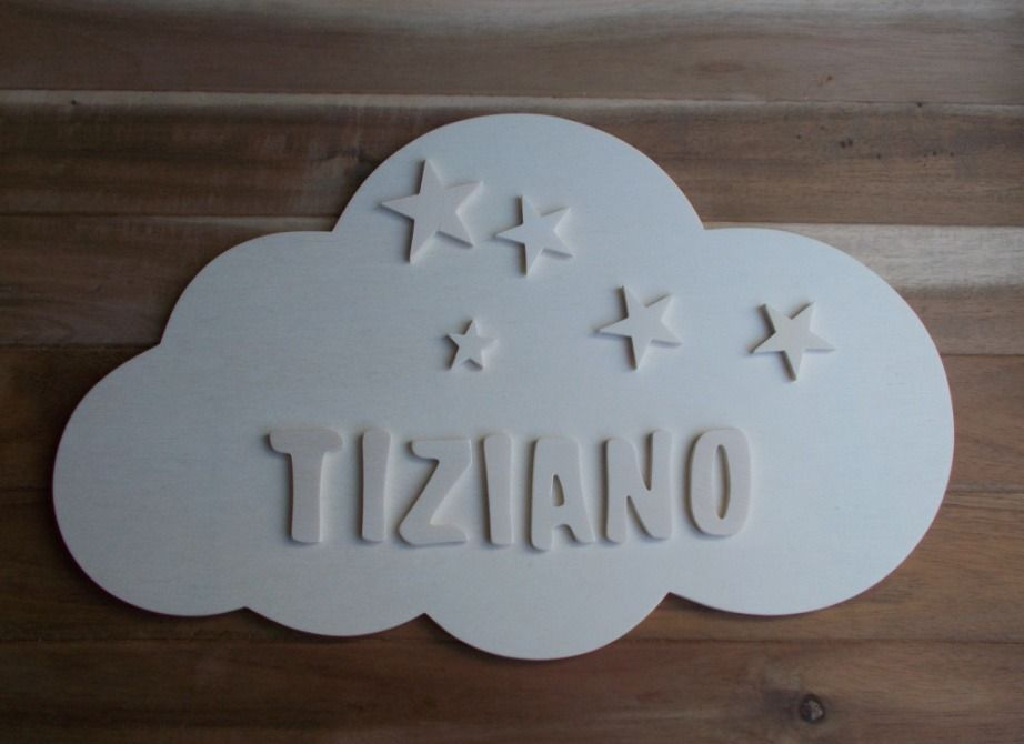 nuage et pr nom enfant en bois plaque de porte nuage pr nom d coratif nuage bois autres. Black Bedroom Furniture Sets. Home Design Ideas
