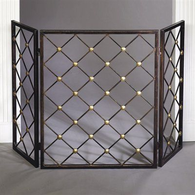 Dessau Home ME2190 Iron Button Firescreen with Brass Accents Home
