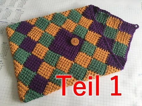 How to crochet knit ENGLISH Entrelac Stitch for Afghan or Blanket ...