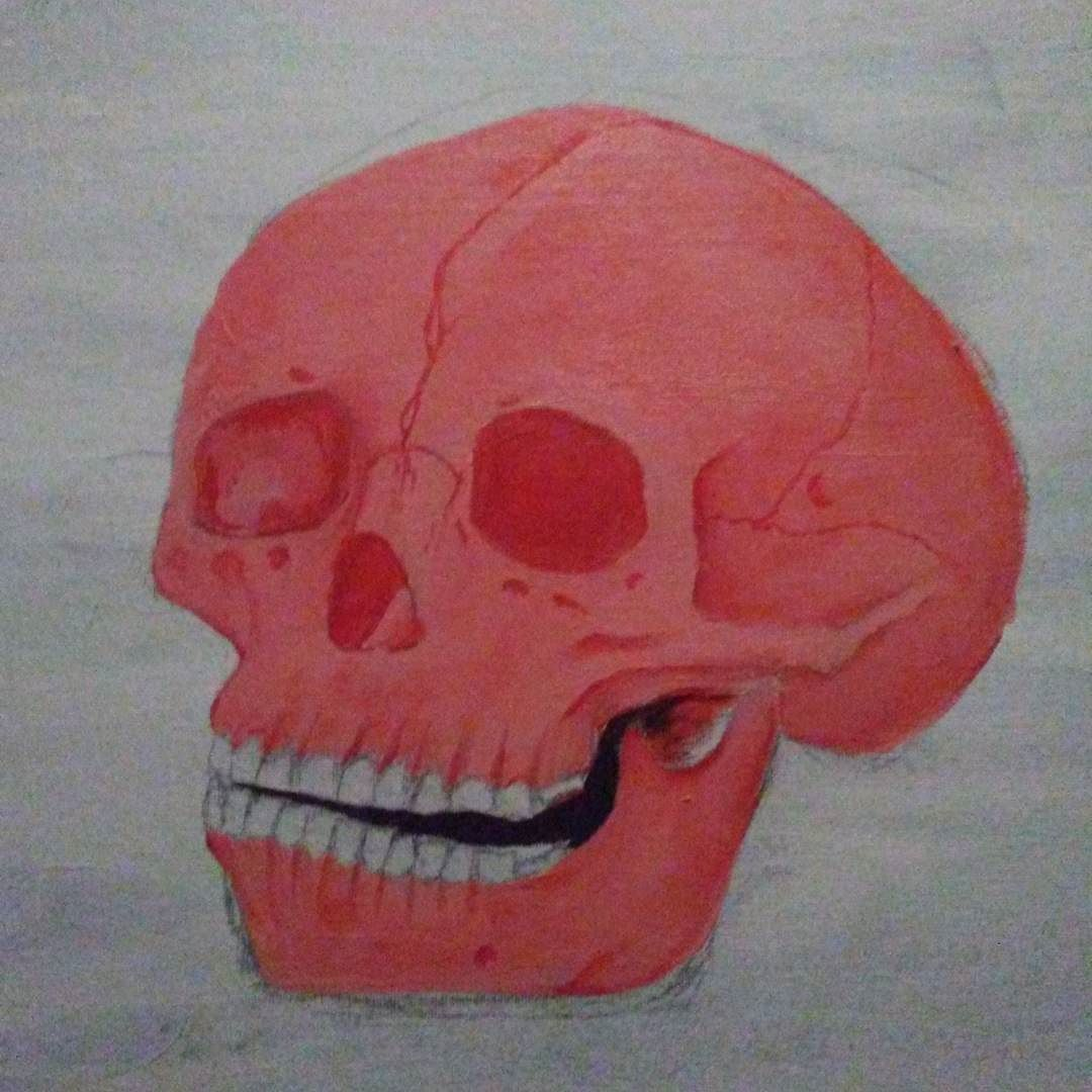 Almost done  #painting #skull #death #red #pink #paint #canvas #gesso #artist #paintingagain by iamusagi_966