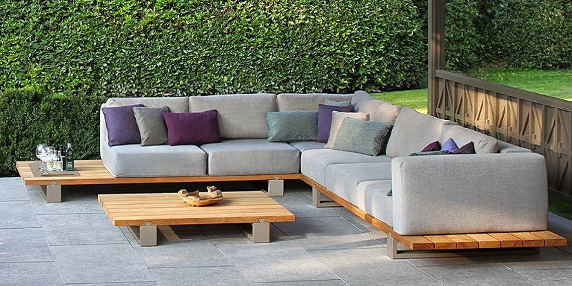 modern outdoor wood sectional sofa set