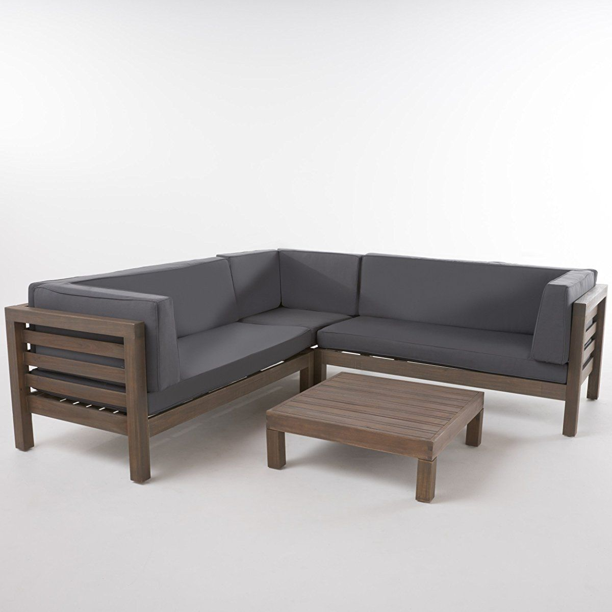 Wooden Sectional Sofa Set W Water Resistant Cushions Grey Furniture Patio Sectional Patio Furnishings