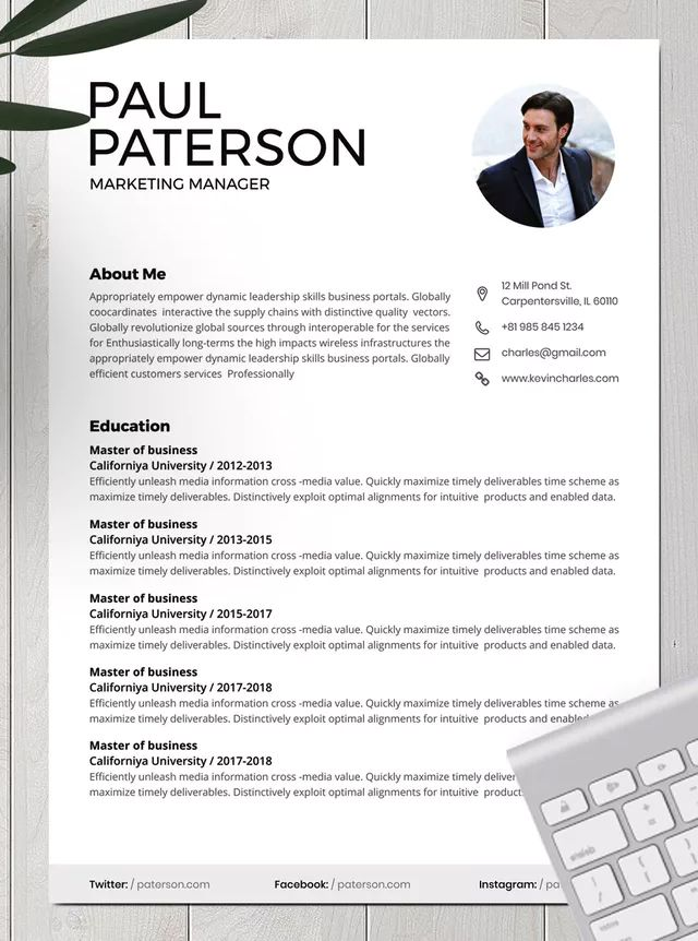 Corporate CV Template by VictorThemesNX on | Cv template, Cv design template, Resume templates