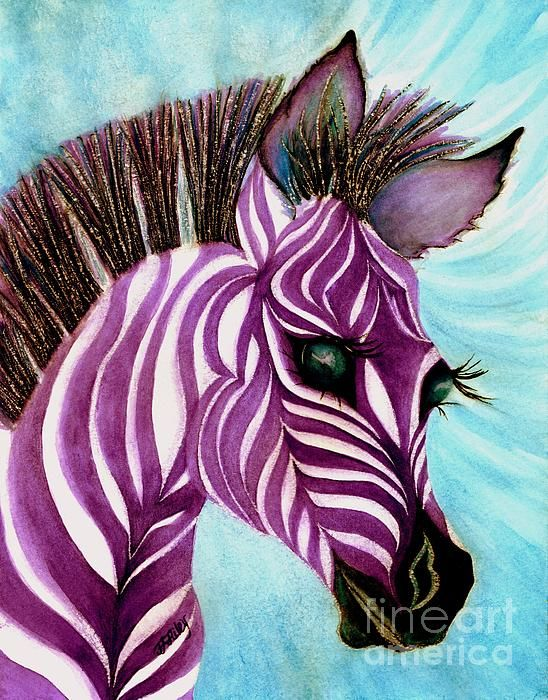 Purple baby Zebra Watercolor painting by Janine Riley. Fine art America Childs room, Children's rooms or baby's Nursery. Teens, Tween, puple,baby, zebras, watercolors, paintings, zoo animals, fantasy,