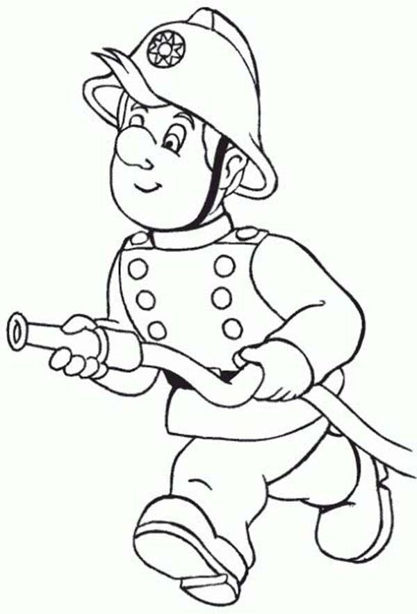 Fireman Fireman Running With Water Hose Coloring Page Coloring Pages Fireman Coloring For Kids