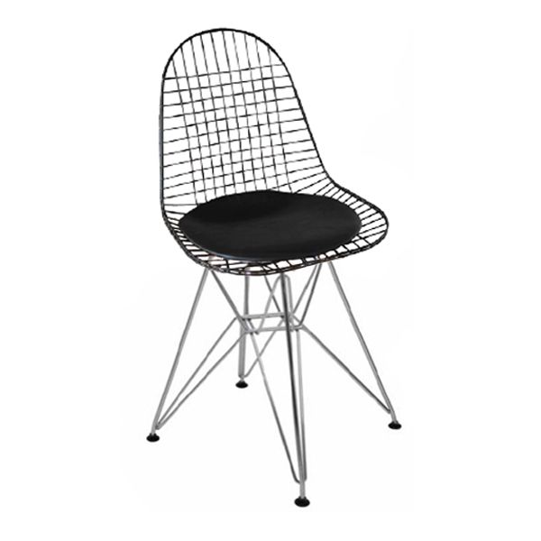 Chrome Wire Mesh Or Black Wire Mesh Seat With Metal Base.