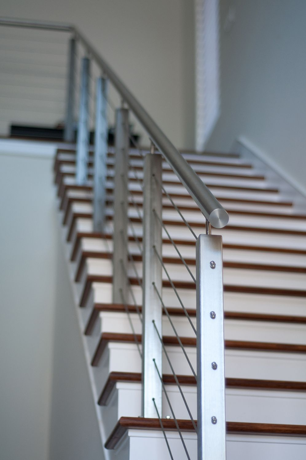 Square Steel Posts And Cable Railing By Indital Stainless Steel Cable Railing Cable Stair Railing Steel Railing Design