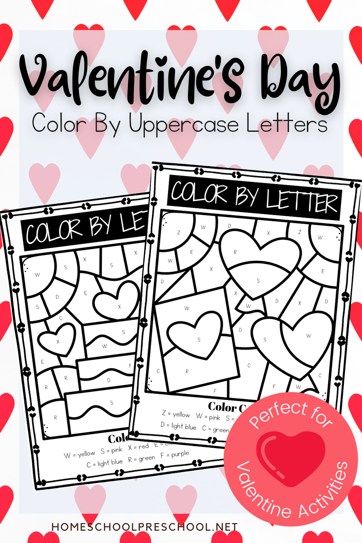 Uppercase Color By Letter Valentine Worksheets In 2021 Valentine Worksheets Lettering Valentine [ 1500 x 1000 Pixel ]