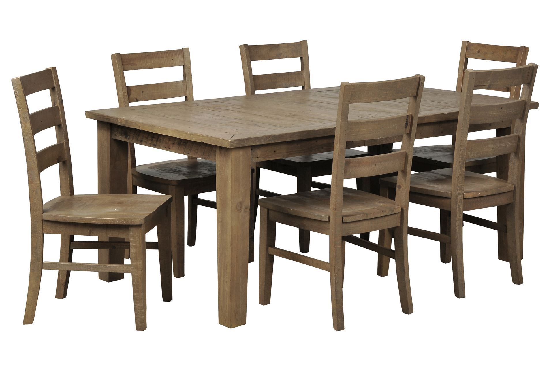 Beckett 7 Piece Rectangle Dining Set W Slat Back Side Chairs