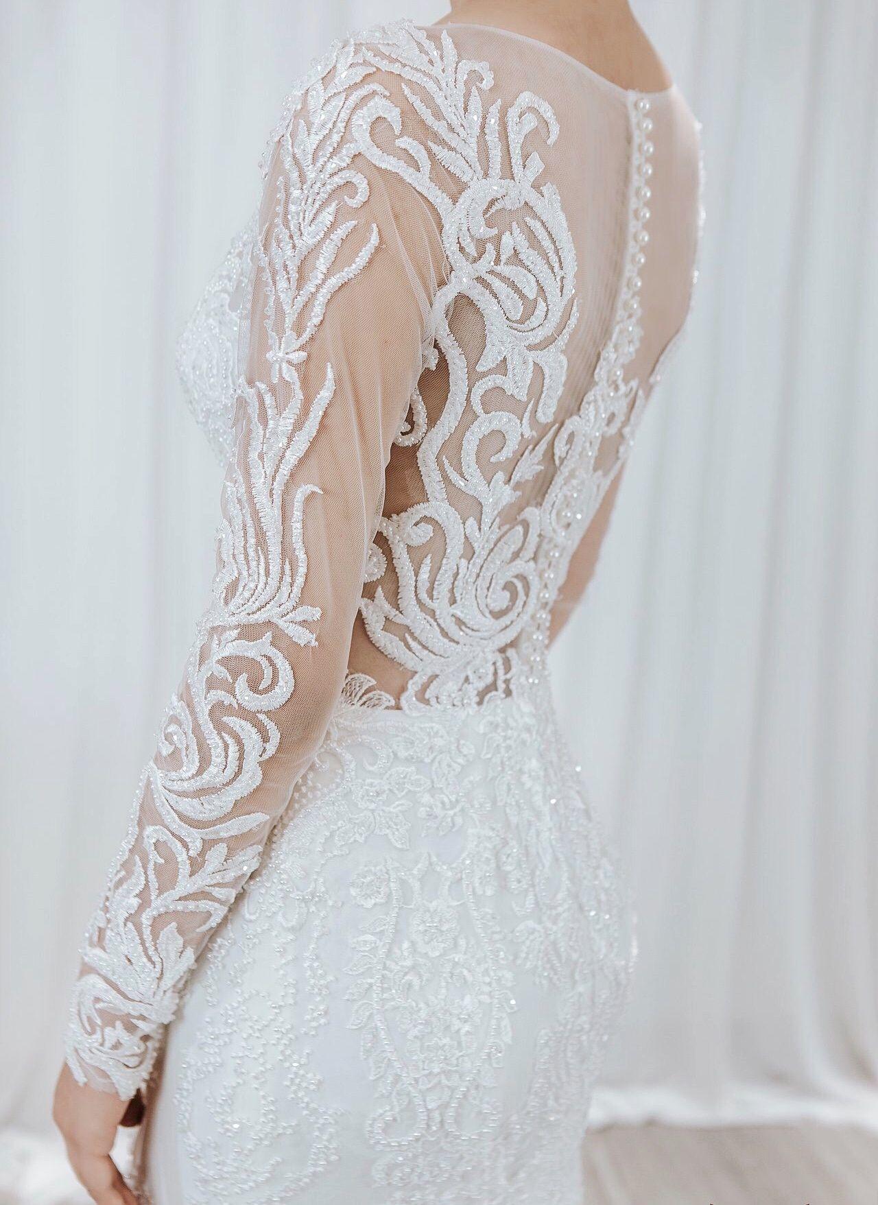 Mermaid Wedding Dress Long Sleeves Full Lace Vintage Wedding
